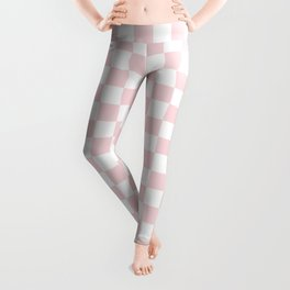 Small Checkered - White and Light Pink Leggings
