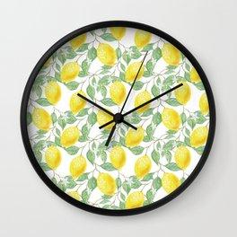 Sicilian Lemon Pattern I Wall Clock