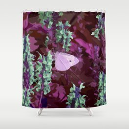 Pink Moth on Green Sage Flowers Painted Photograph Shower Curtain