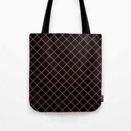 Pantone Living Coral Thin Line Stripe Grid (Pinstripe Pattern) on Black Tote Bag