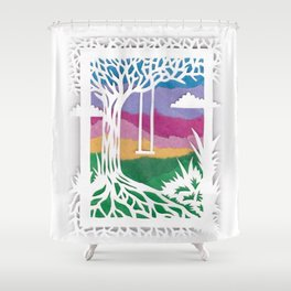 Sunset Swing Papercut Shower Curtain