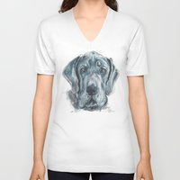 great dane V-neck T-shirts featuring Baden // Blue Great Dane by ali_grace_gal