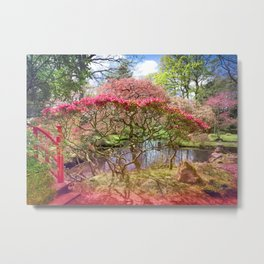 Japanese Garden And Pond Metal Print