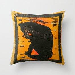 Cat sitting & licking silhouette, Lino print Throw Pillow