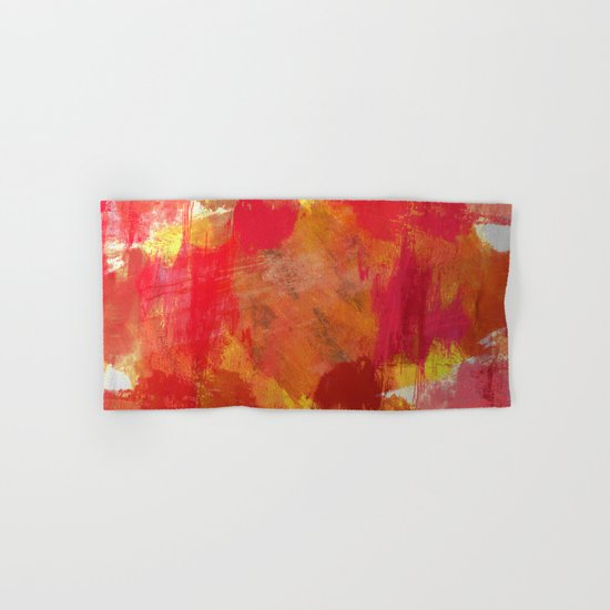 Fight Fire With Fire - Textured Metallic Abstract in red, white, black, orange and yellow Hand & Bath Towel