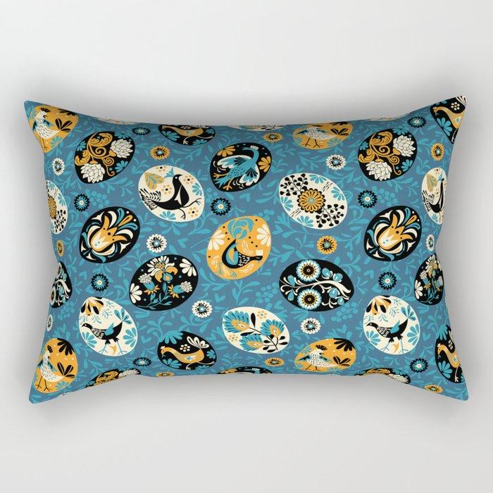 Pysanky decorated eggs | blue Rectangular Pillow