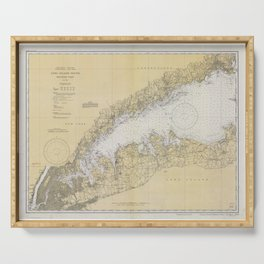 Vintage Map of The Long Island Sound (1934) Serving Tray