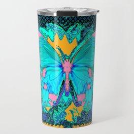 Aqua-Pink Butterfly Floral Pattern Pink Art Travel Mug