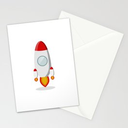 The rocket takes off isolated on a white background Stationery Cards