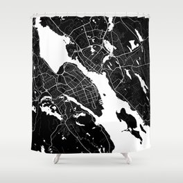 Halifax - Minimalist City Map Shower Curtain