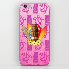 Surfboards And Tiki Mask Pink Tiki iPhone Skin