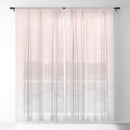 Blush Pink on Gray and White Marble II Sheer Curtain