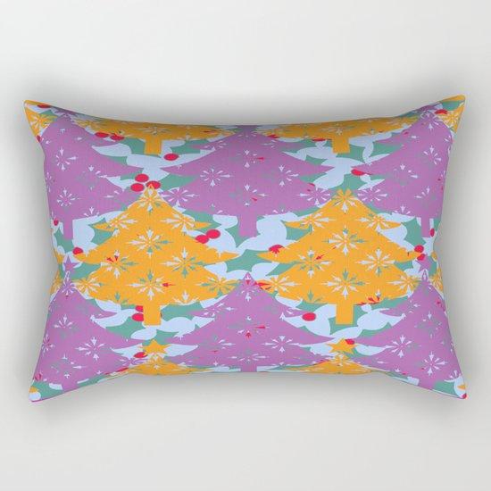 Christmas Holly Tree Rectangular Pillow