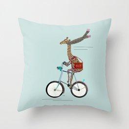 Giraffes School Days  Throw Pillow