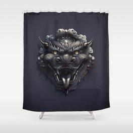 Foo Lion Dog Mask Shower Curtain