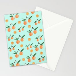 Fruity Oranges Pattern in Mint Green Stationery Cards