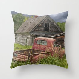 Old Chevy Pickup and Abandoned Farm House Throw Pillow
