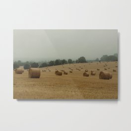 French countryside on a cloudy day | Hay bales| Europe colorful travel photography Metal Print