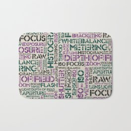 Photography Terms Word Pattern Bath Mat