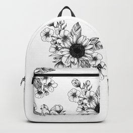 Bouquet of Flowers with Sunflower / Fall floral lineart Backpack