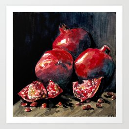Pomegranates (Dark) Art Print