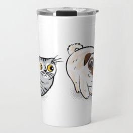 Pug and Cat Travel Mug