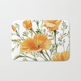 California Poppies - Watercolor Painting Bath Mat