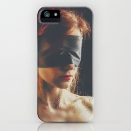 Raindrops - Blindfolded woman behind a window #A8362 iPhone Case