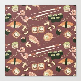 I love sushi and I cannot lie pattern Canvas Print