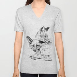 Foxes napping Unisex V-Neck