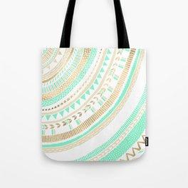 Mint + Gold Tribal Tote Bag