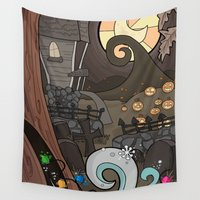nightmare before christmas Wall Tapestries featuring Nightmare Before Christmas by Lacey Simpson