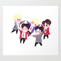 shinee Art Prints featuring Shining SHINee by sophillustration