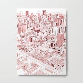 Asakusa in Red Metal Print