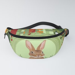 Bunny in green frame with geometric background stripes Fanny Pack