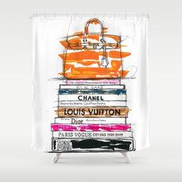 Birkin Bag And Fashion Books Shower Curtain