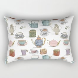 Vintage Teacups and Teapots white background Rectangular Pillow