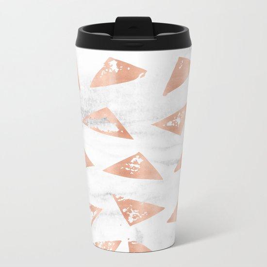 Boho Geometric Rose Gold Marble Metal Travel Mug