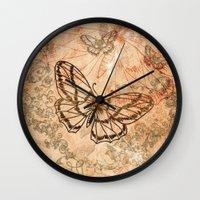 butterflies Wall Clocks featuring Butterflies by nicky2342