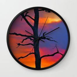 Dead Tree Against Colorful Sky Wall Clock