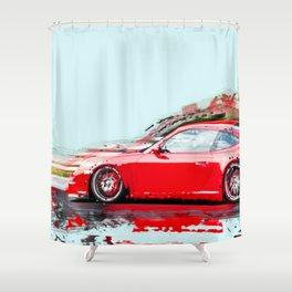 The Red Porsche Shower Curtain