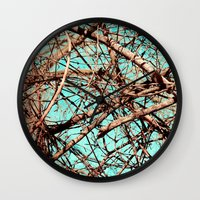 tangled Wall Clocks featuring Tangled by Slava Bowman