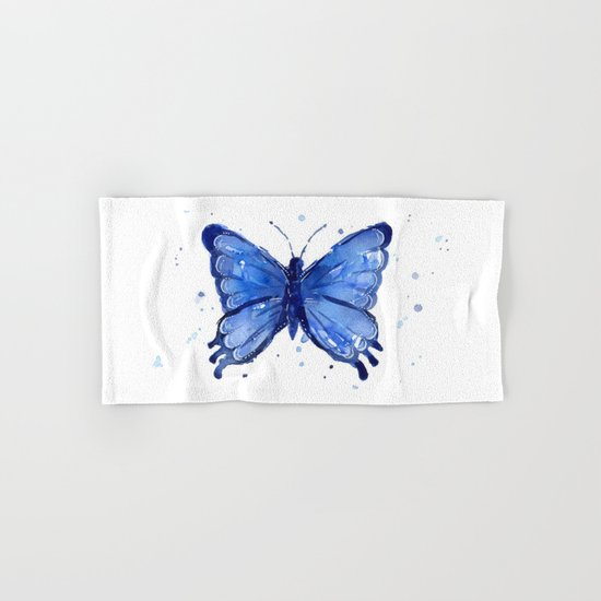 Butterfly Blue Watercolor Animal Painting Hand & Bath Towel