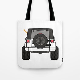 Jeep Wave Back View - White Jeep Tote Bag