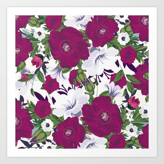 Purple Spring Flowers Art Print
