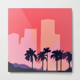Sunset Time in Miami Metal Print