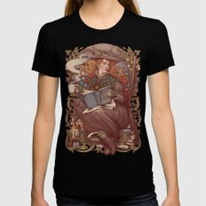 NOUVEAU FOLK WITCH MEDIUM Womens Fitted Tee Black