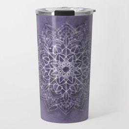 Vintage Lavender Watercolor Mandala Travel Mug