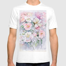 White Wild Roses Watercolor painting White Pink Rose Flower Bouquet Wedding decor T-shirt