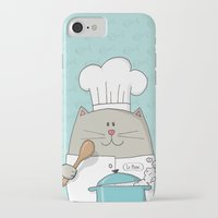 chef iPhone & iPod Cases featuring Chef cat, chef hat, ZWD009S6 by ZeeWillDraw